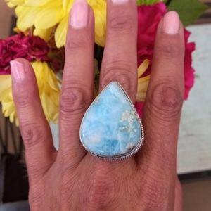 Caribbean Sky Larimar 925 Silver Ring